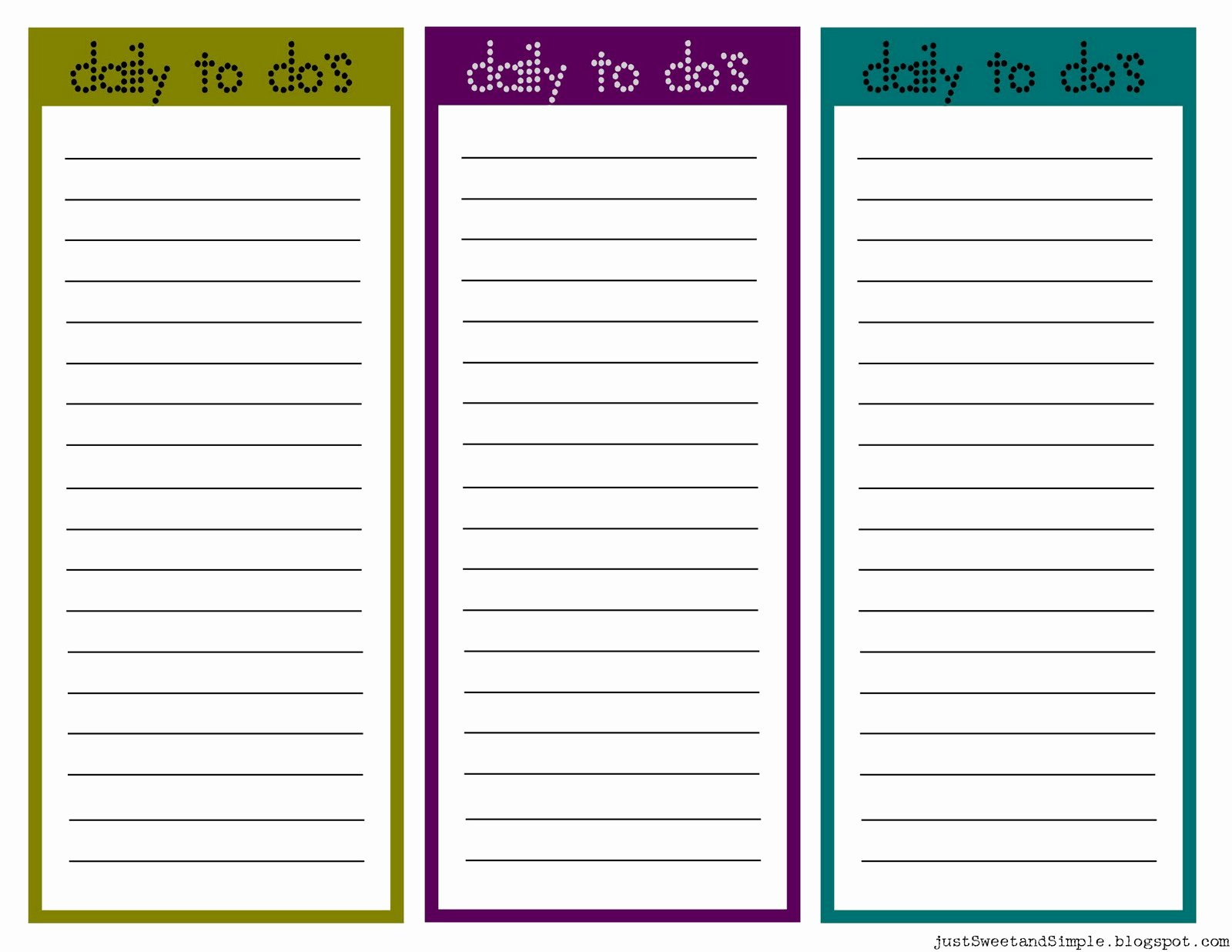 printable little daily to do lists