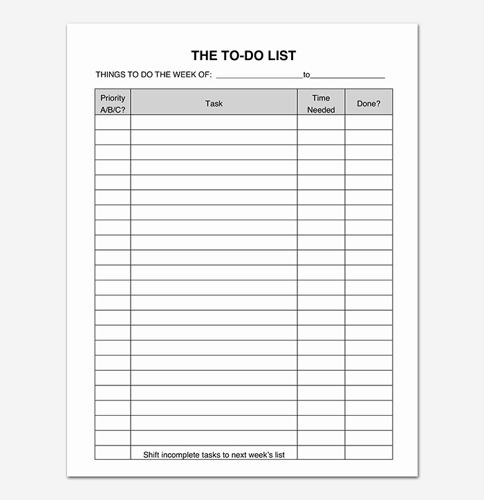 To Do List Templates Excel New Things to Do List Template 20 Printable Checklists