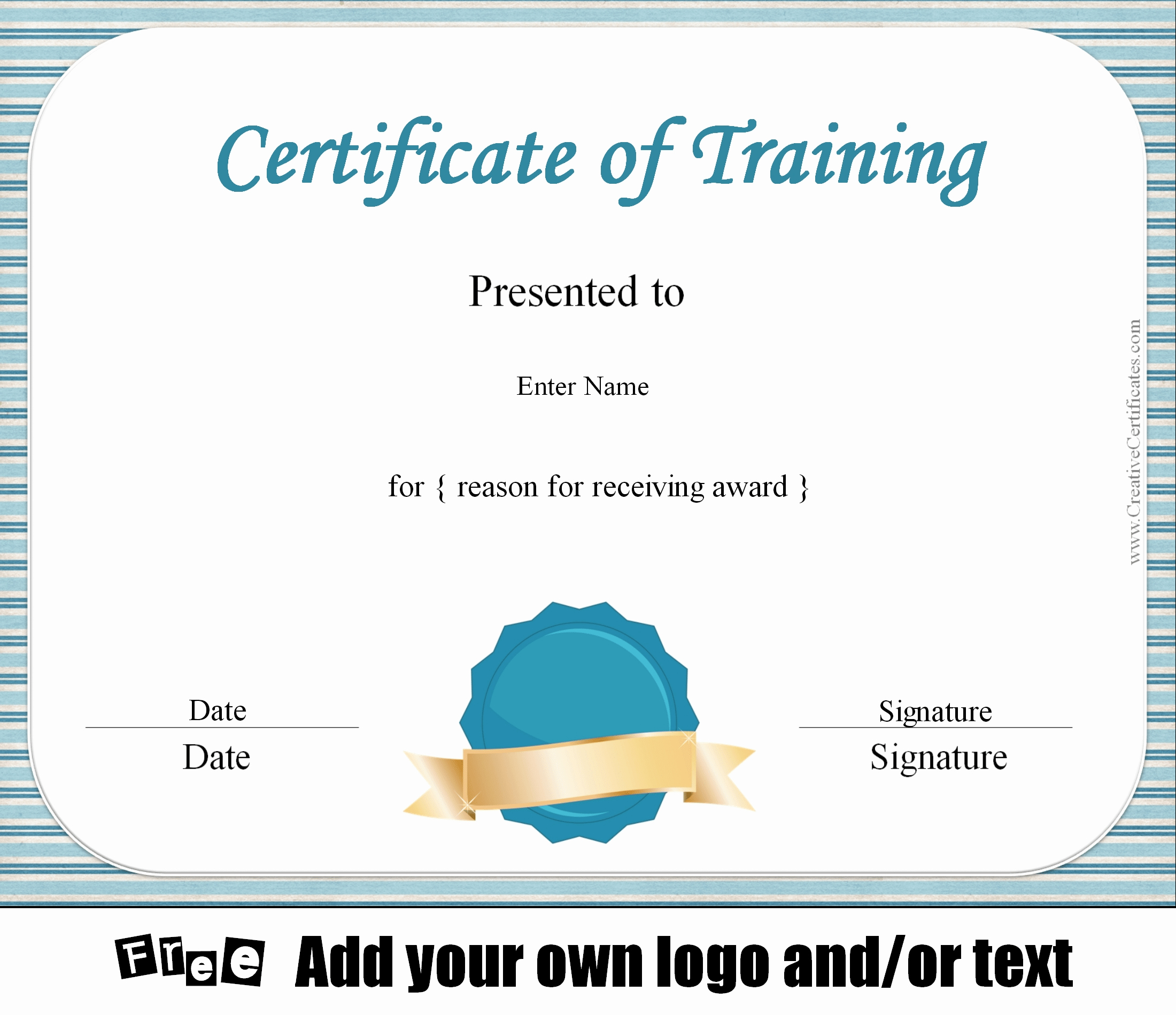 Training Certificate Template Free Awesome Free Certificate Of Training Template Customizable