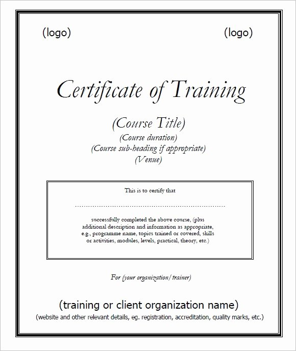 Training Certificate Template Free Elegant Free Training Certificate Template and Designing E