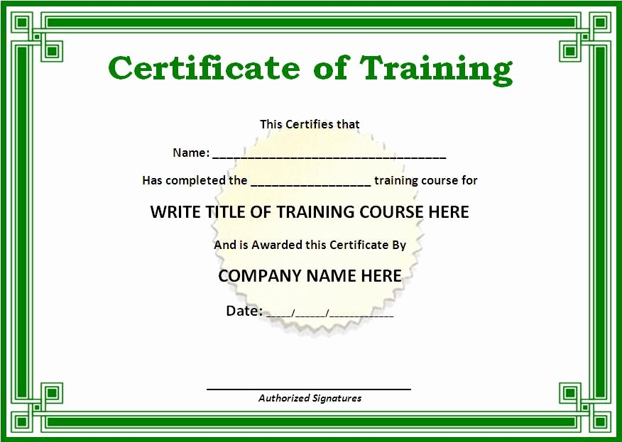 Training Certificate Template Free Fresh Certificate Templates