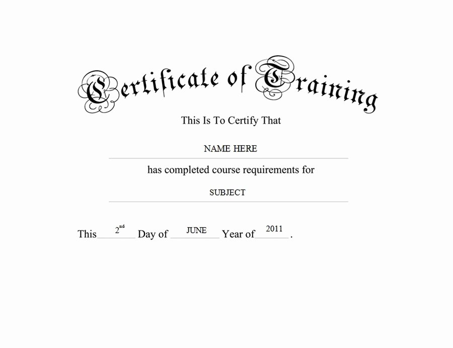 Training Certificate Template Free Lovely Certificate Of Training Free Templates Clip Art & Wording