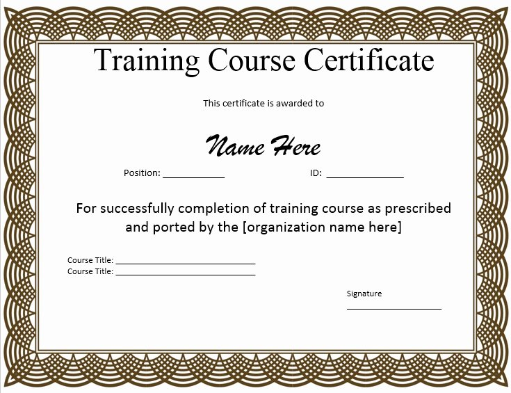Training Certificate Template Free Luxury 11 Free Sample Training Certificate Templates Printable