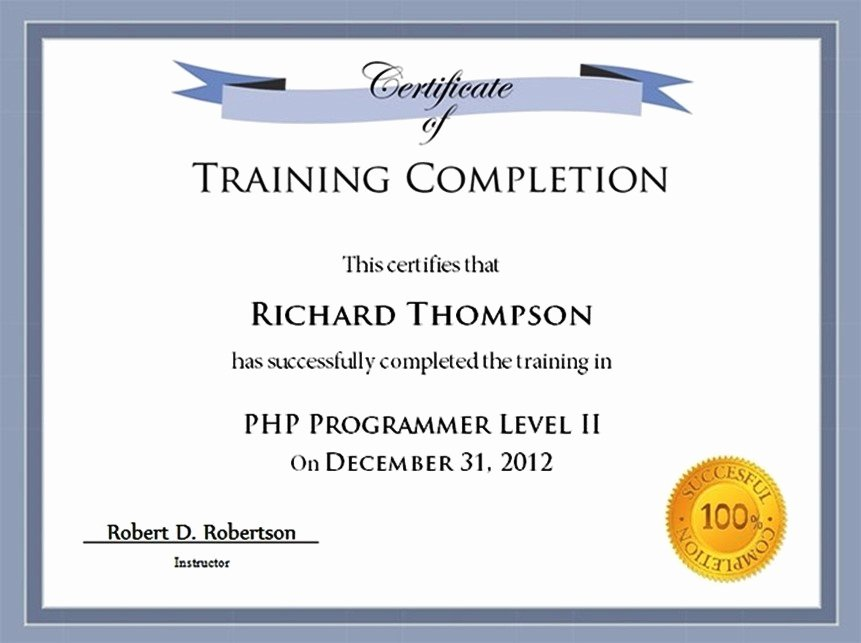 Training Certificate Template Free New Training Certificate Template