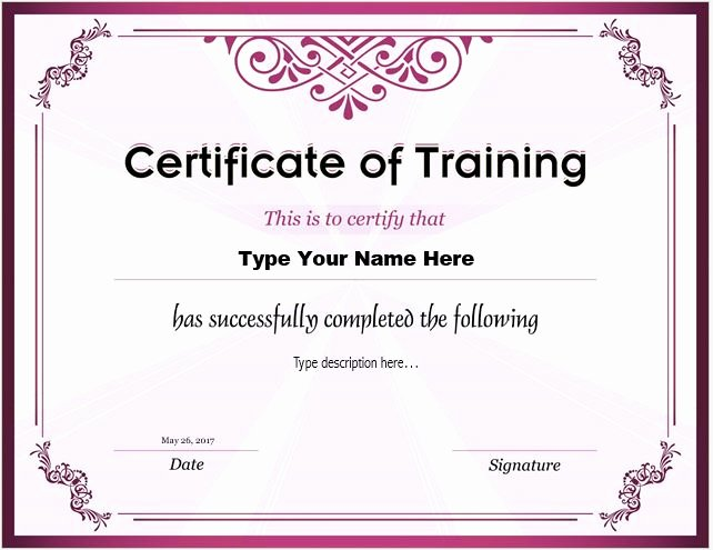 Training Certificate Template Free Unique Certificates Of Training Templates