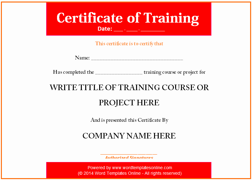 Training Certificate Template Free Unique Training Certificate Template Microsoft Word Templates