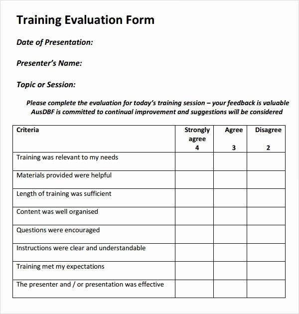 Training Evaluation form Template Beautiful Training Evaluation form 15 Free Documents In