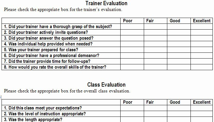 Training Evaluation form Template Fresh Training Evaluation form Template