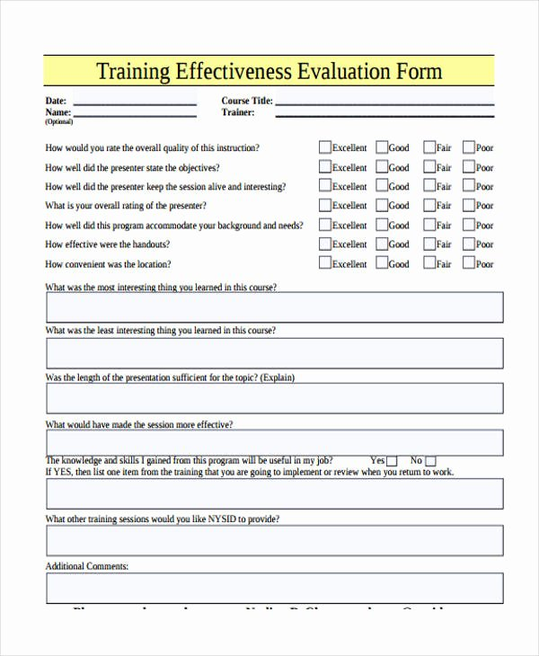 Training Evaluation form Template Lovely Free 26 Printable Training Evaluation forms In Pdf