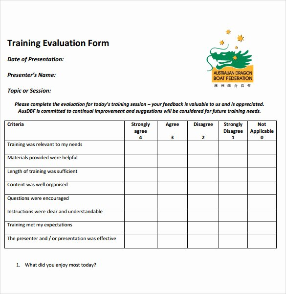 Training Evaluation form Template Luxury Training Evaluation form 7 Samples Examples & format