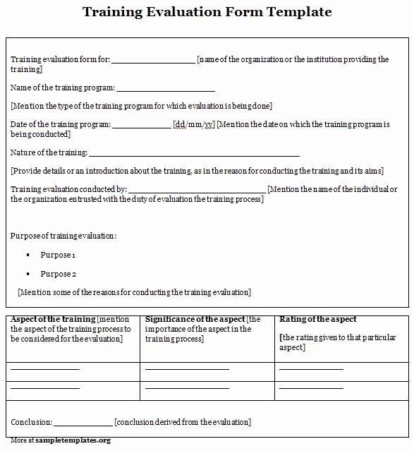 Training Evaluation form Template Luxury Training Evaluation form Evaluation form