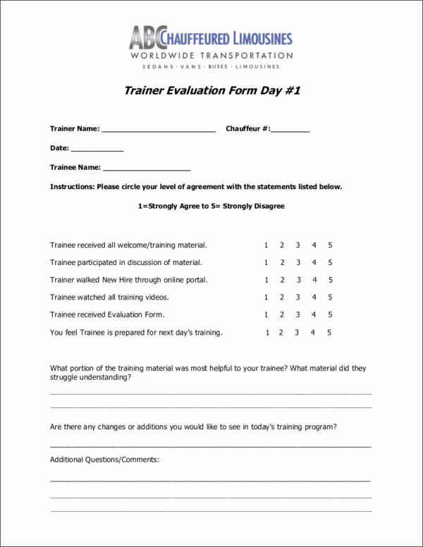 Training Evaluation form Template Unique Free 11 Trainer Evaluation form Samples & Templates In Pdf