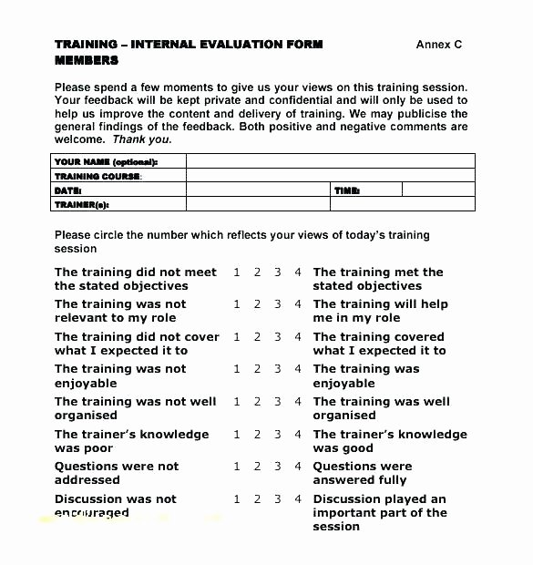 Training Evaluation form Template Unique Training Evaluation form Questions – Pdgroup