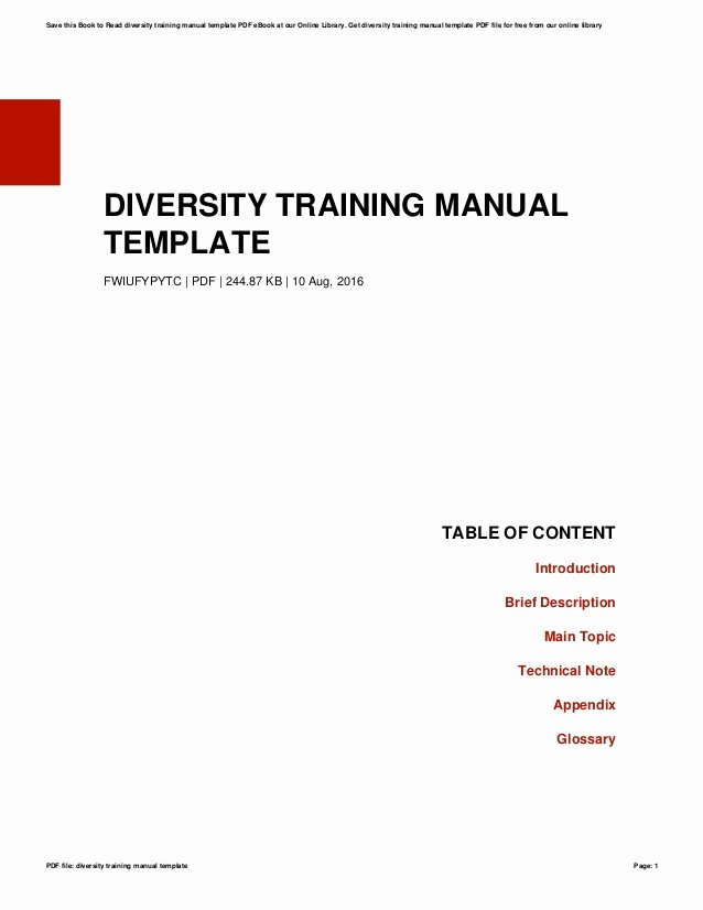 Training Manual Template Free Unique Diversity Training Manual Template