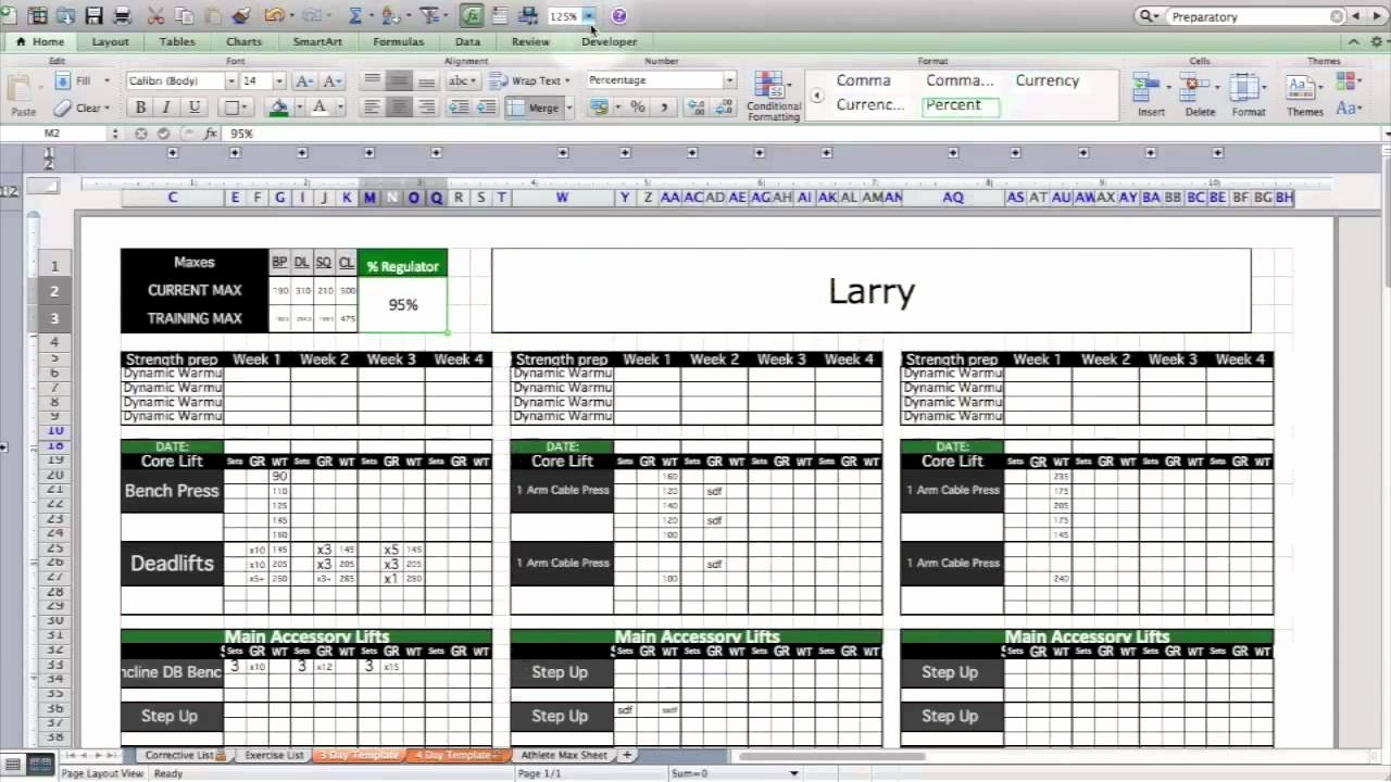 Training Plan Template Excel Elegant Strength & Conditioning Excel Template Level 1