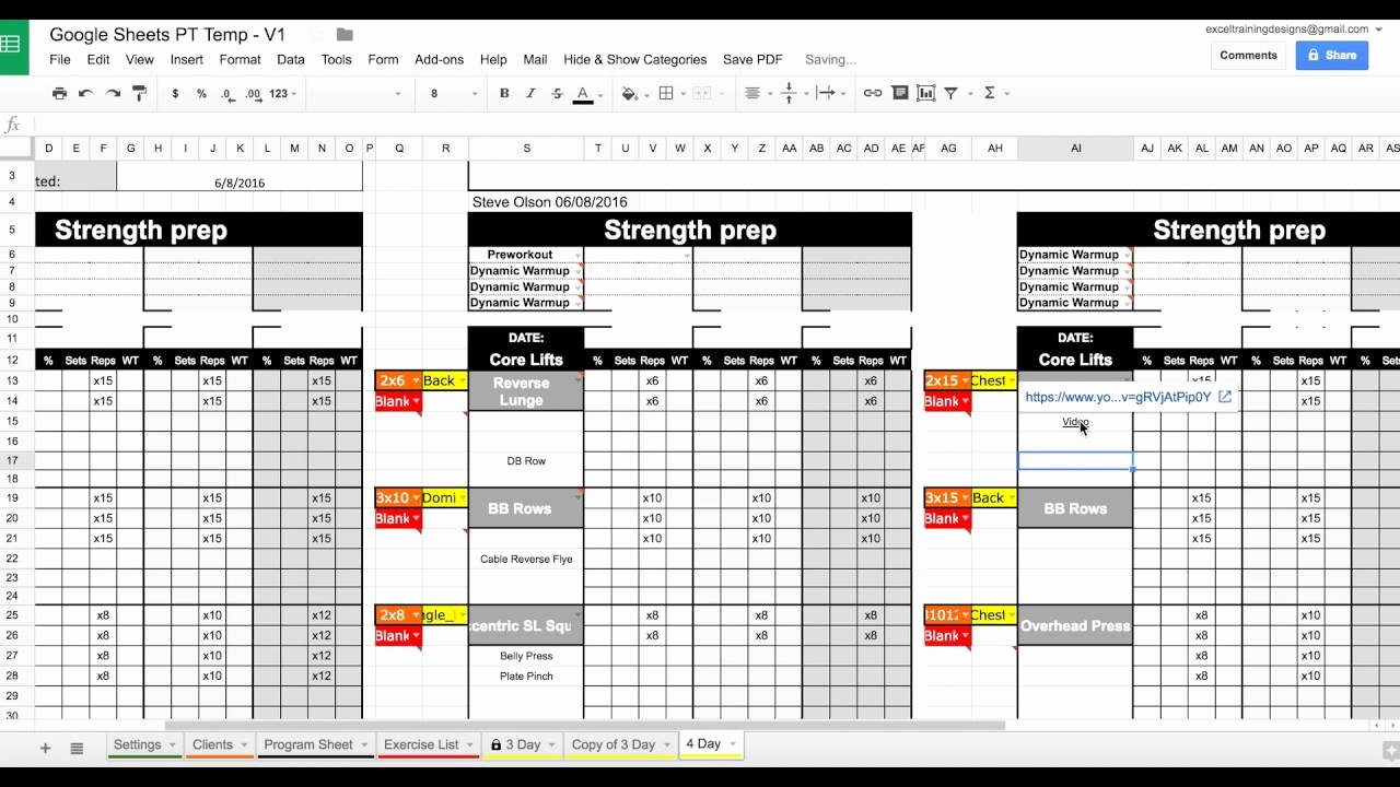Training Plan Templates Excel Beautiful Setting Up Your Google Sheets Personal Training Template