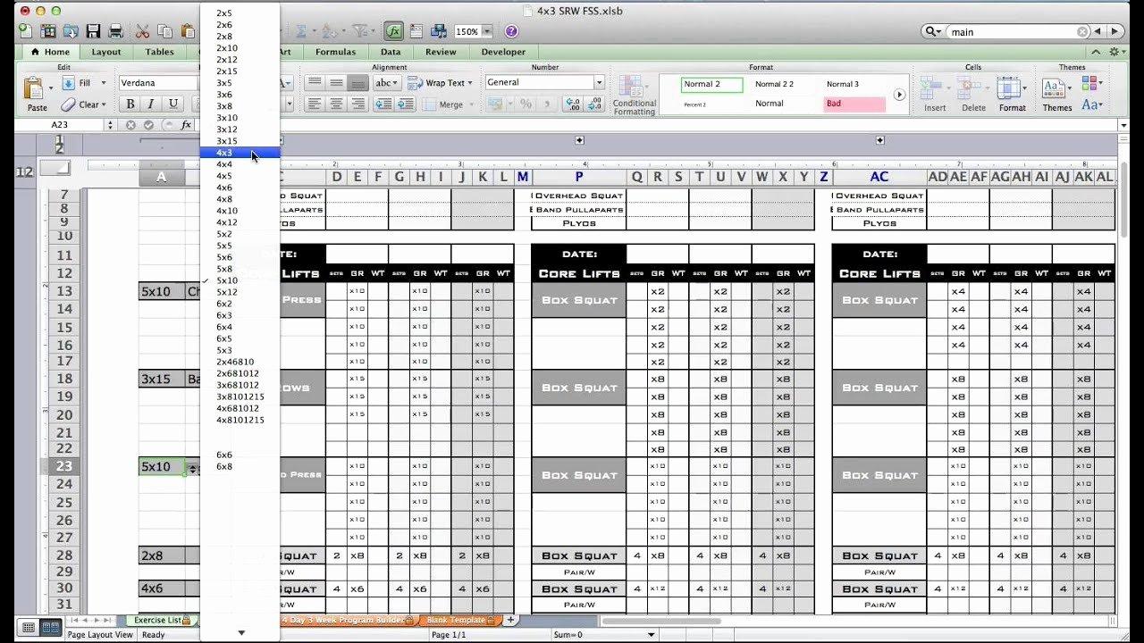 Training Plan Templates Excel Elegant Pt Fitness Excel Workout Template From Excel Training