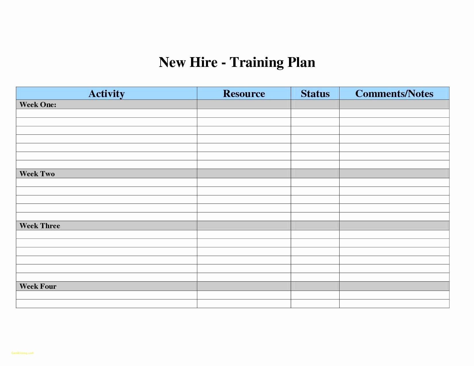 Training Plan Templates Excel Fresh Employee Training Spreadsheet Template Google Spreadshee
