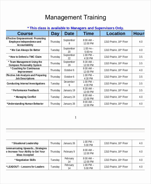 Training Plan Templates Excel Inspirational 15 Employee Training Schedule Template Word Pdf