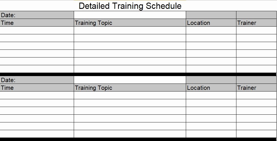 Training Plan Templates Excel Luxury Download Employee Training Schedule Template for Pany