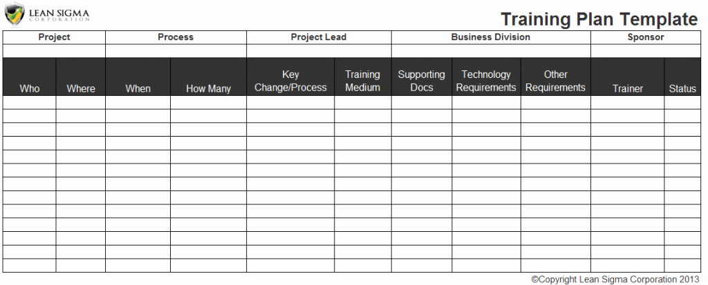 Training Plan Templates Excel New Free Six Sigma tools and Templates Instant Downloads