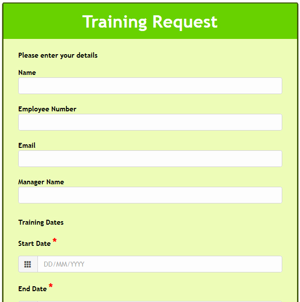 Training Request form Template Beautiful formwize Examples