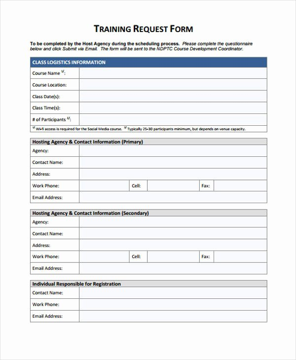 Training Request form Template Best Of Free 48 Sample Request form Templates