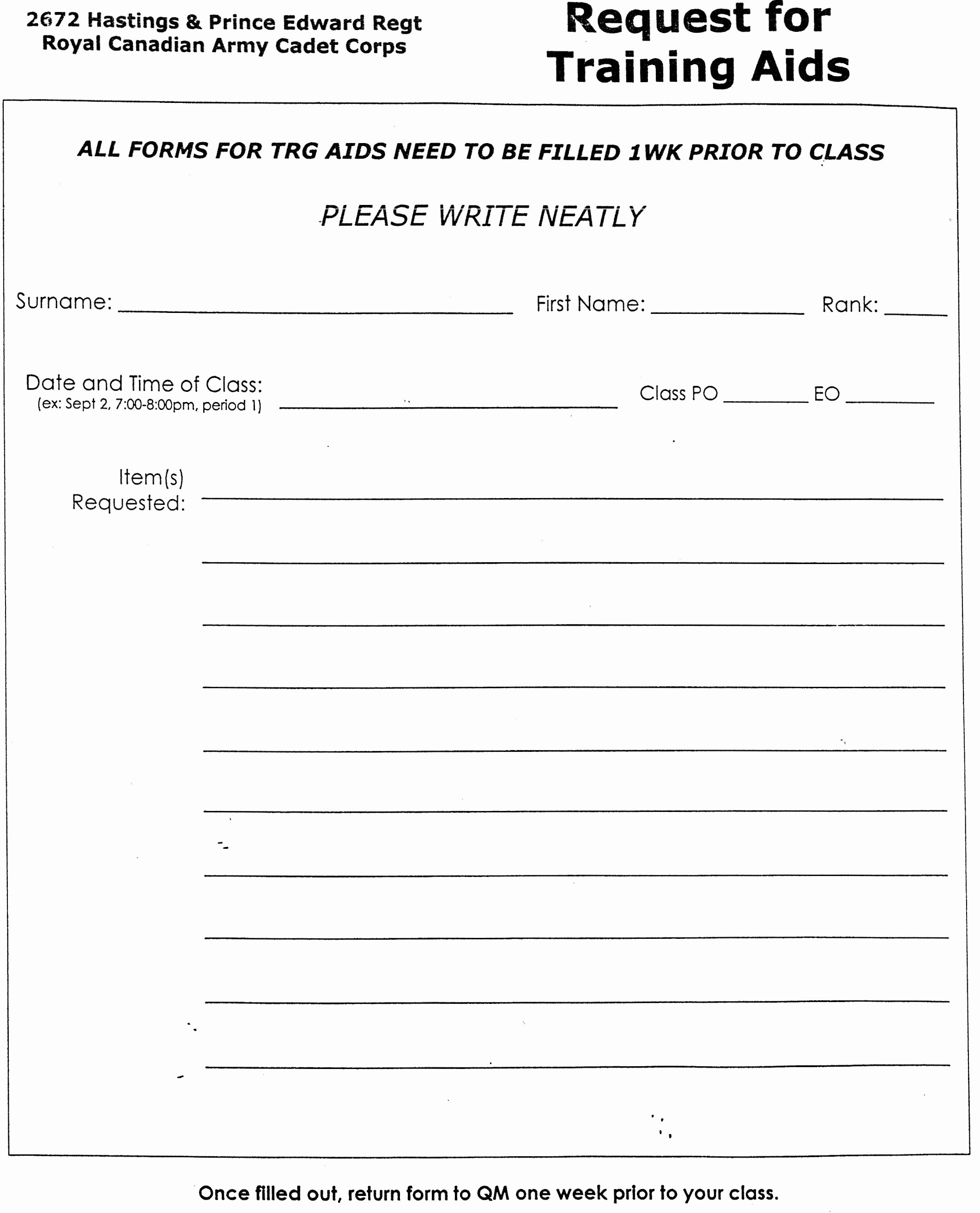 Training Request form Template Best Of Peterborough Army Cadets 2672 Paratus Hastings Prince