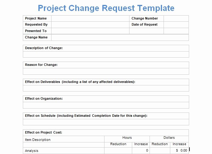 Training Request form Template Best Of Project Management Change Request form Templates