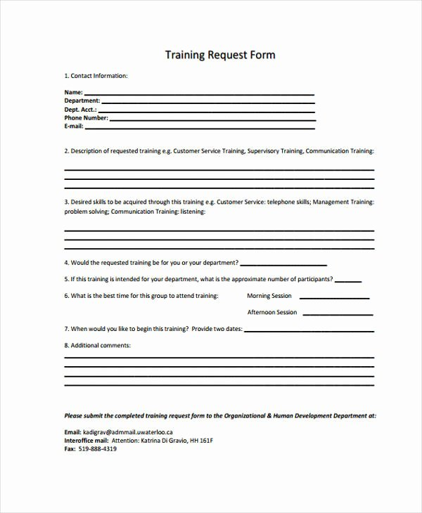 Training Request form Template Inspirational Free 48 Sample Request form Templates