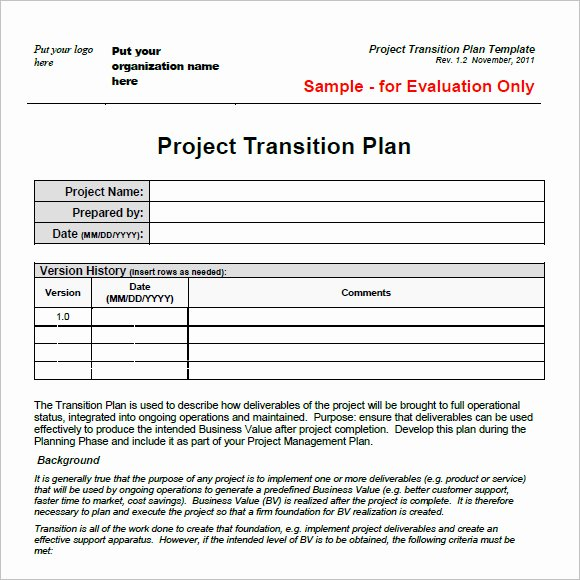 Transition Management Plan Template Elegant Transition Plan Template