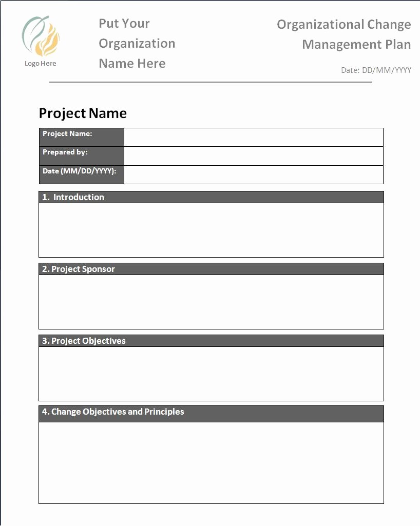 Transition Management Plan Template Fresh Change Management Plan Template