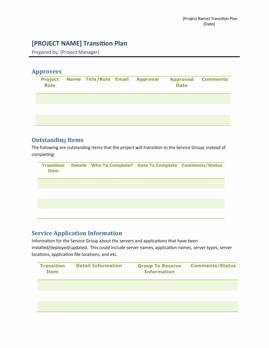 Transition Management Plan Template Unique 40 Transition Plan Templates Career Individual