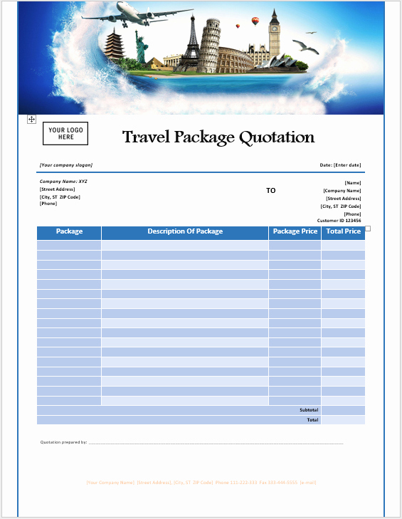 Travel Agent Quote Template Elegant 16 Free Travel Service Quotation Templates Ms Fice
