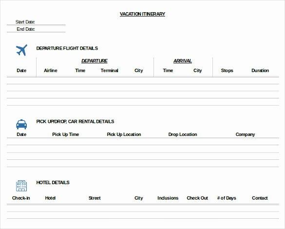 Travel Itinerary Template Word Beautiful 11 Trip Itinerary Templates – Free Sample Example