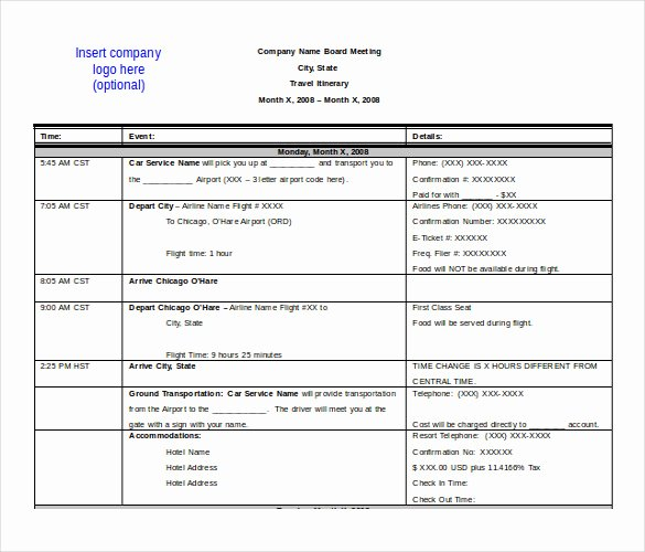 Travel Itinerary Template Word Beautiful 13 Itinerary Templates Free Microsoft Word Documents