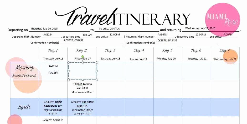 Travel Itinerary Template Word Elegant 6 Travel Itinerary Templates Word Excel Templates