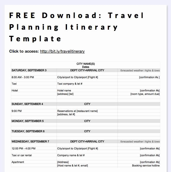Travel Itinerary Template Word Fresh Free Download Travel Planning Itinerary Template