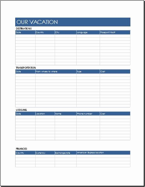 Travel Itinerary Template Word Fresh Trip Itinerary Templates for Family & Business