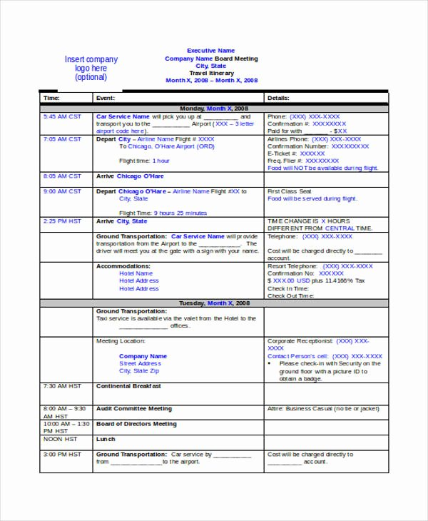 Travel Itinerary Template Word Lovely 9 Travel Itinerary Templates Free Word Pdf format