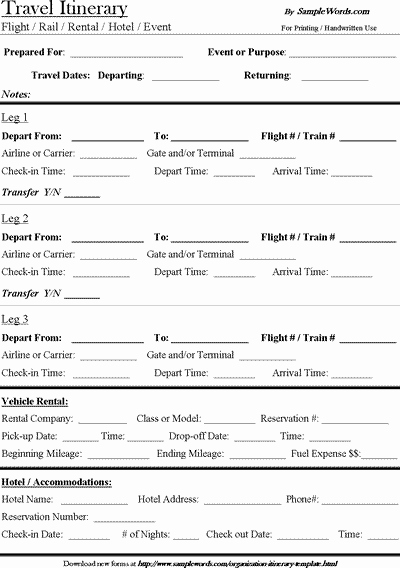 Travel Itinerary Template Word Lovely Travel Itinerary Template Download Microsoft Word Document