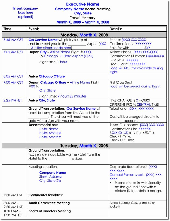 Travel Itinerary Template Word New Free Itinerary Templates to Perfectly Plan Your Trips