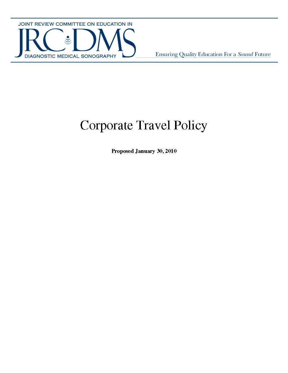 Travel Policies and Procedures Template Awesome Corporate Travel Policy Template Pdf format