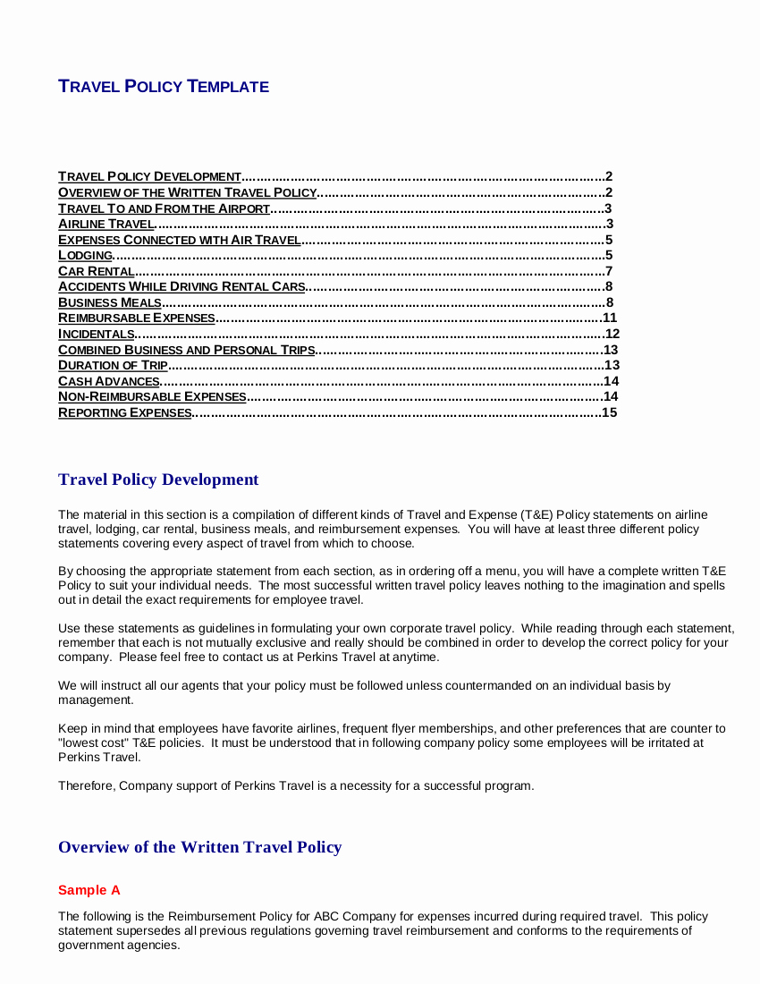 Travel Policies and Procedures Template Awesome Free 22 Travel Policy Examples In Pdf