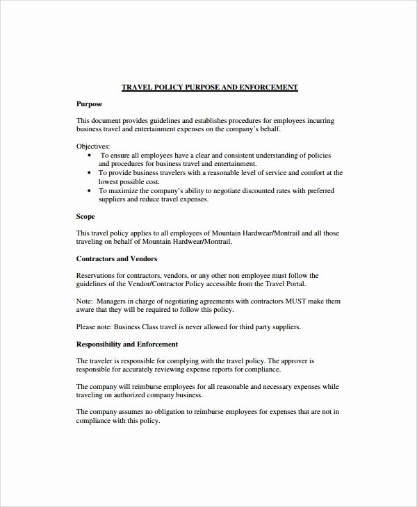 Travel Policies and Procedures Template Beautiful Sample Travel Policy Template 9 Free Documents Download