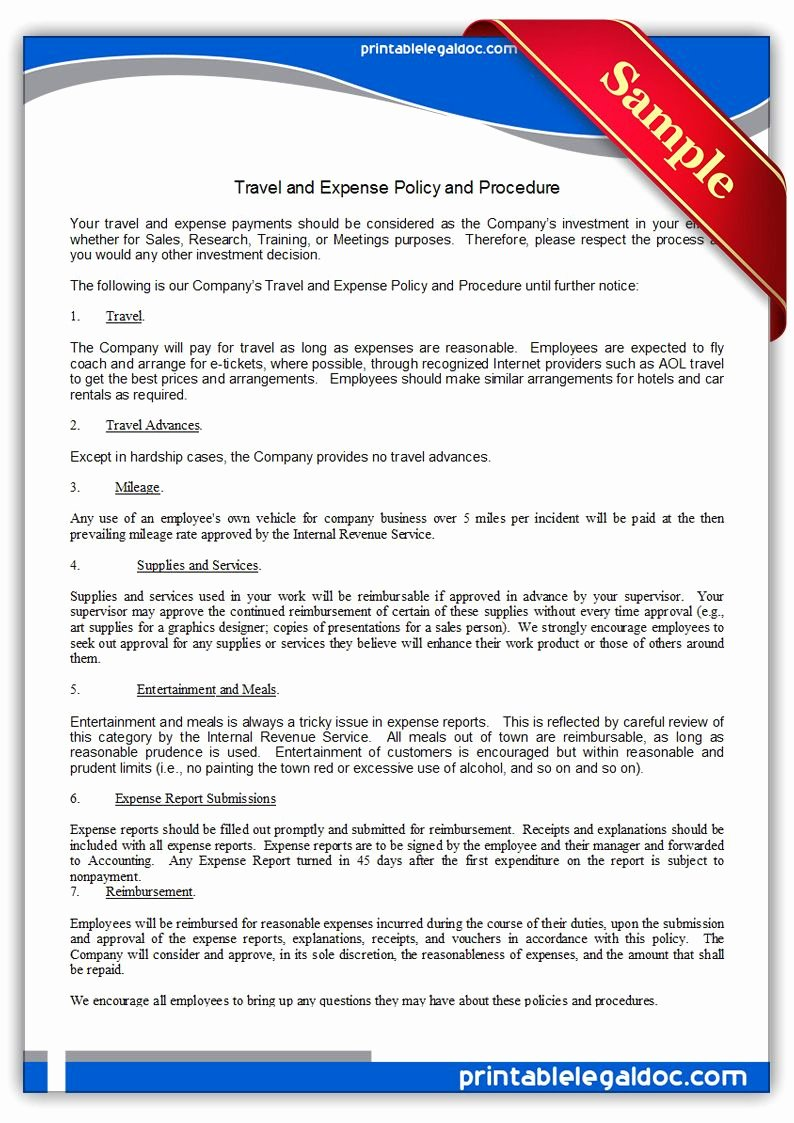 Travel Policies and Procedures Template Best Of Printable Travel and Expense Policy and Procedure Template