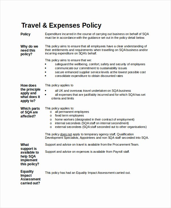 Travel Policies and Procedures Template Best Of Travel Policy Template