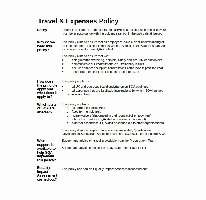 Travel Policies and Procedures Template Elegant 19 Policy Templates In Word and Pdf