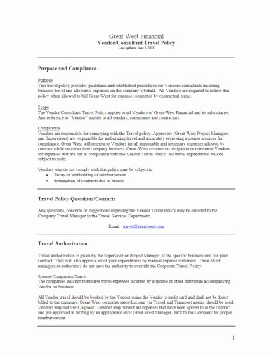 Travel Policies and Procedures Template Fresh 10 Corporate Travel Policy Templates Doc Pdf