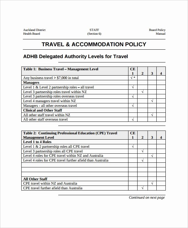 Travel Policies and Procedures Template Fresh Travel Policy Template 8 Free Word Pdf Document